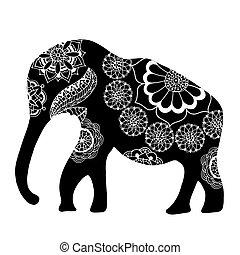 noir, elephant., ethnique