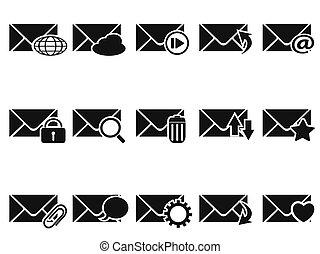 noir, email, icône, ensemble