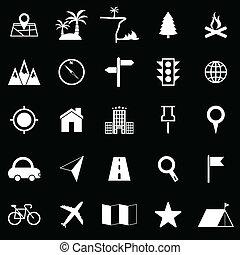noir, emplacement, fond, icônes