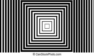 noir, en mouvement, fond, blanc, carrés