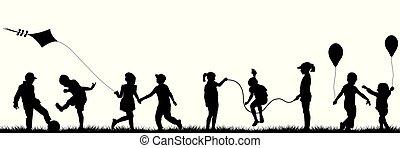 noir, enfants jouer, extérieur