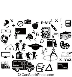 noir, ensemble, education, icône