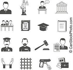 noir, ensemble, icônes, justice