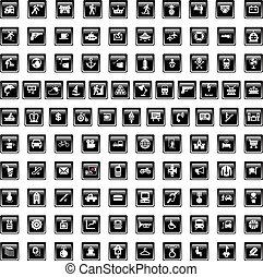 noir, ensemble, quinze, icônes