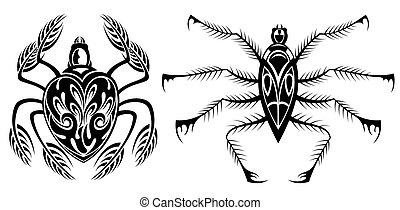 noir, ensemble, silhouette, araignés, icône