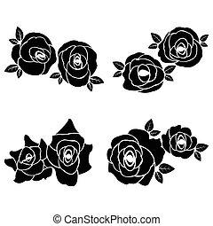 noir, ensemble, silhouette, rose