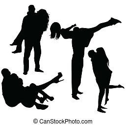 noir, ensemble, silhouettes
