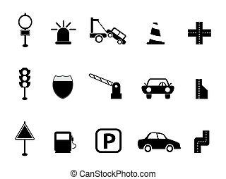 noir, ensemble, trafic, icône