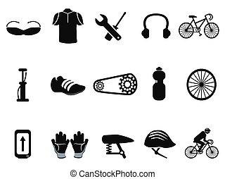 noir, ensemble, vélo, icônes