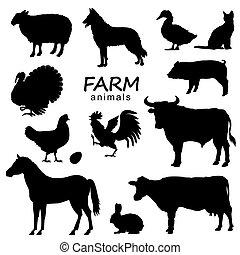 noir, ensemble, vecteur, isolé, animaux, silhouette, ferme, conception, blanc