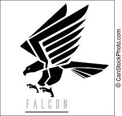 noir, falcon., falcon.attacking