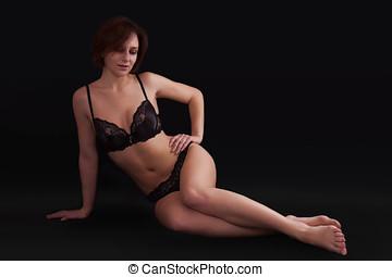 noir, femme, coup,  Lingerie,  sexy