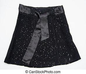 noir, femmes, jupe, ceinture