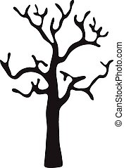 noir, feuilles, vecteur, arbre, sans