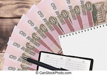 noir, financier, ventilateur, contact, business, planification, concept, rubles, russe, bloc-notes, factures, 100, pen., stratégie, livre