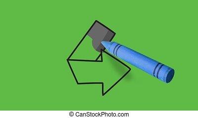noir, flèche droite, dessin, direction, fond, vert