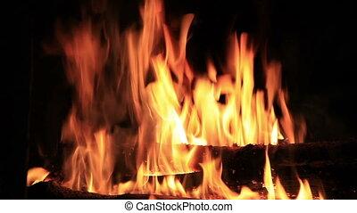 noir, flammes, fond