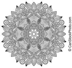 noir, fleur blanche, ornement, cercle