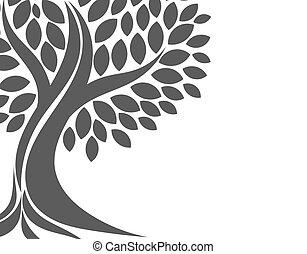 noir, forme, arbre, symbolique, arrière-plan.