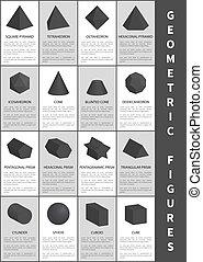 noir, géométrique, vecteur, figures, illustration