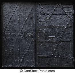noir, gothique, portes, fer