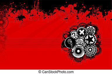 noir, grunge, arrière-plan rouge