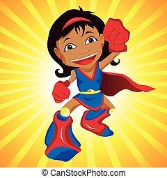 noir, héros super, girl.