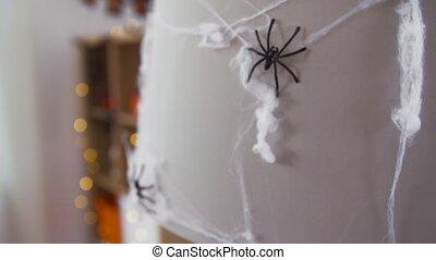 noir, halloween, décoration, jouet, araignés, toile araignée