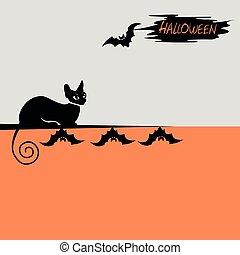 noir, halloween, fond, chat