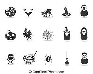 noir, halloween, icône