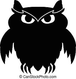 hibou noir hibou simple vecteur noir blanc dessin illustration vectorielle. Black Bedroom Furniture Sets. Home Design Ideas