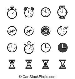 noir, horloge, icônes, ensemble