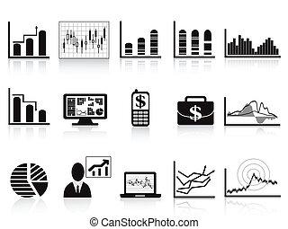noir, icône, diagrammes, business