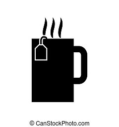 noir, icône, tasse, thé chaud