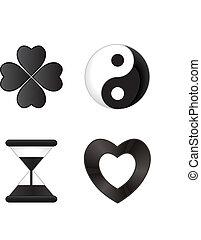 noir, icônes, blanc