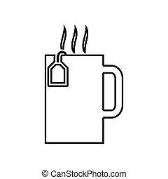noir, il, icône, tasse, thé chaud