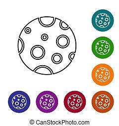 noir, illustration, cercle, lune, icône, vecteur, couleur, isolé, ensemble, ligne, blanc, arrière-plan., icônes, buttons.