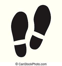 noir, impression, icon., chaussure, fond, isolé, icône, vecteur, blanc