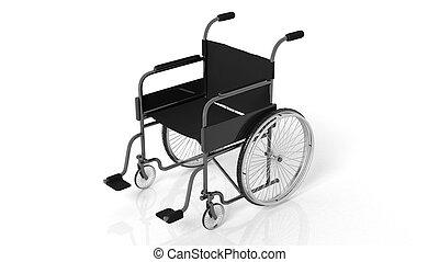 noir, incapacité, fauteuil roulant, isolé, blanc, fond