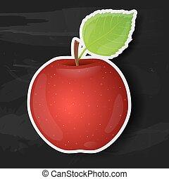 noir, isolé, pomme, arrière-plan., rouges