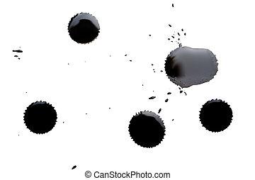 noir, isolé, taches, encre