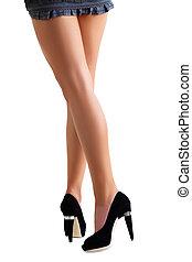 noir, jambes, femme, chaussures