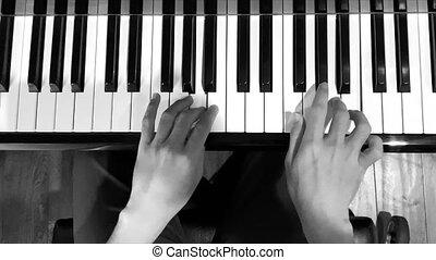 noir, jeune garçon, white., piano, positif, jouer