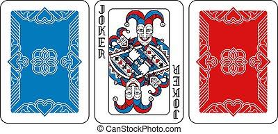 noir, jouer, joker, rouges, dos, carte, bleu