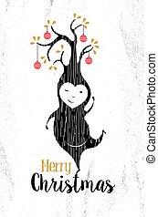 noir, joyeux, elfe, noël, blanc