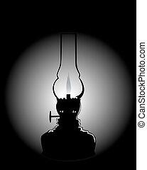 noir, kérosène, silhouette, lampe