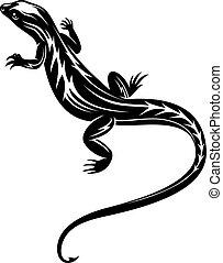 noir, lézard, reptile
