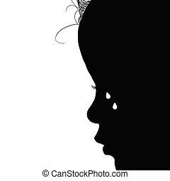 noir, larmes, silhouette, illustration, enfant
