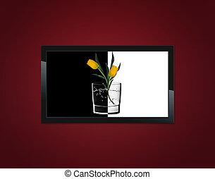 noir, lcd, tv