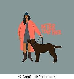 noir, leash., femme, promenade, labrador, chien, automne